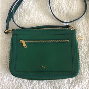 Lauren Ralph Lauren green leather crossbody